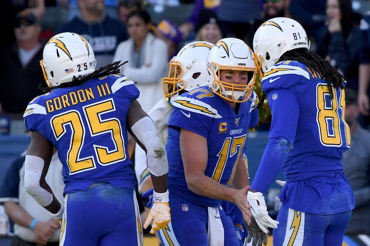 Philip Rivers of the Los Angeles Chargers celebrates his touchdown pass to Mike Williams to take a 10-9 lead over the Minnesota Vikings during the second quarter at Dignity Health Sports Park on December 15, 2019 in Carson, California.