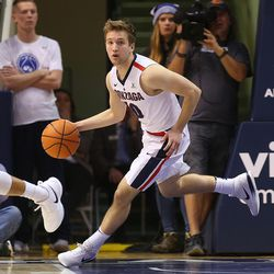 Gonzaga Bulldogs guard Jesse Wade (10) brings the ball up court as BYU and Gonzaga play in an NCAA basketball game in the Marriott Center in Provo on Saturday, Feb. 24, 2018. Gonzaga won 79-65.