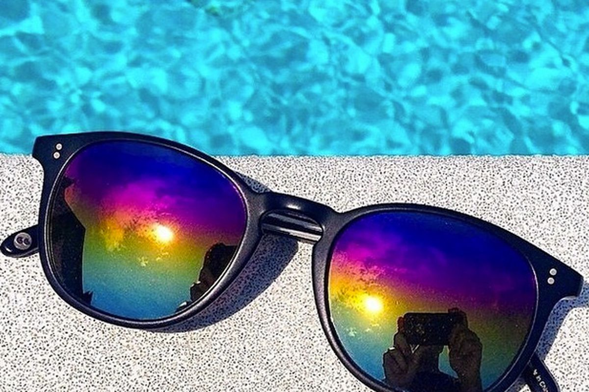 "Garrett Leight Kinney sunglasses with galaxy mirror lenses, <a href=""http://www.garrettleight.com/modshop/"">$365</a>. Image <a href=""http://instagram.com/p/rceBsRQcNg/?modal=true"">via</a>."