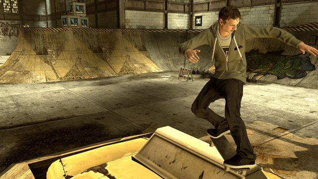 Tony Hawk doing a front-side grind in Tony Hawk's Pro Skater HD
