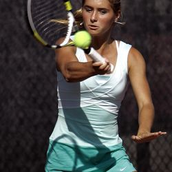 Madeline Foley of Rowland Hall competes in the 2A state tennis tournament.