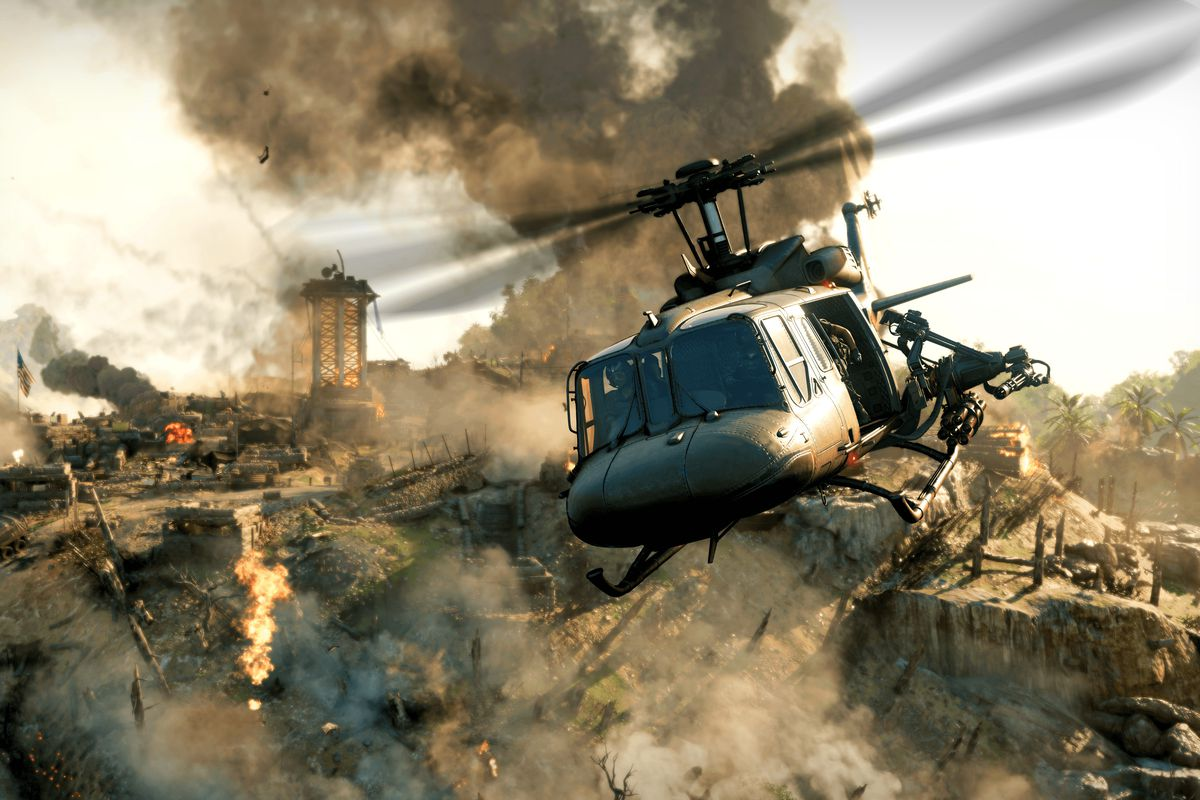 a helicopter with a chain gun mounted on the side in Call of Duty: Black Ops Cold War