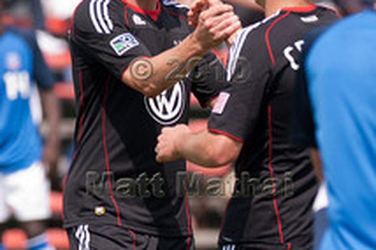 "Forwards Danny Allsopp and Adam Cristman combined for 3 goals.  Photo courtesy <a href=""http://mattmathai.smugmug.com/DC-United-Reserves/2010/20100405-Crystal-Palace/MEM0282/828889019_pJtg5-S.jpg"">Matt Mathai</a>"