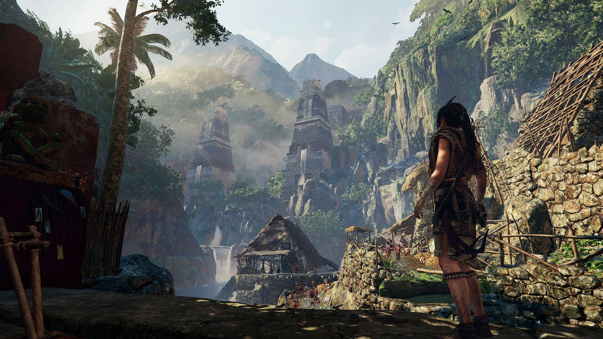 Shadow of the Tomb Raider - Lara approaching riverside village in jungle