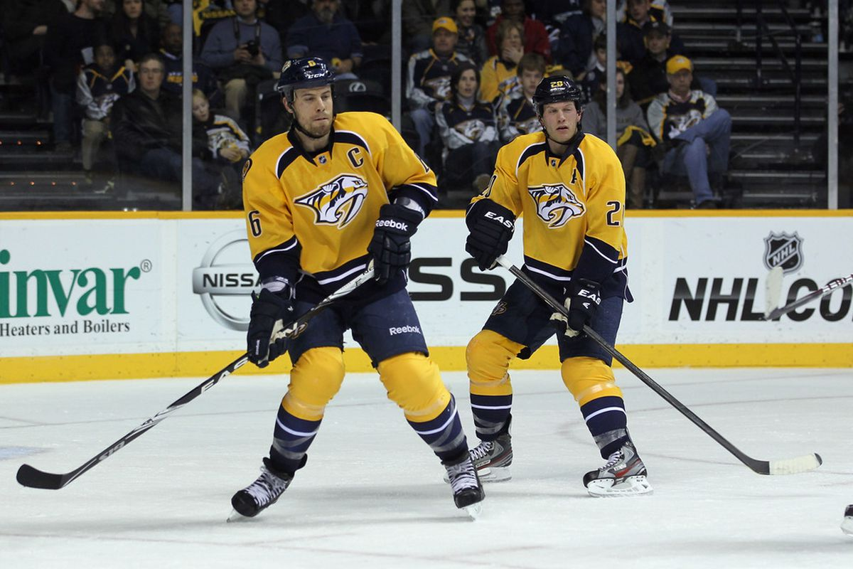 NASHVILLE, TN - FEBRUARY 14:  (L-R) Shea Weber #6 and Ryan Suter #20 of the Nashville Predators defend against the Chicago Blackhawks at the Bridgestone Arena on February 14, 2012 in Nashville, Tennessee.  (Photo by Bruce Bennett/Getty Images)
