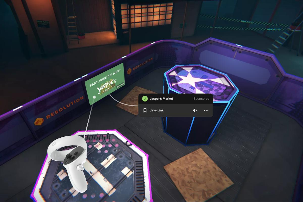 Werbung im Oculus Quest-Spiel Blaston.