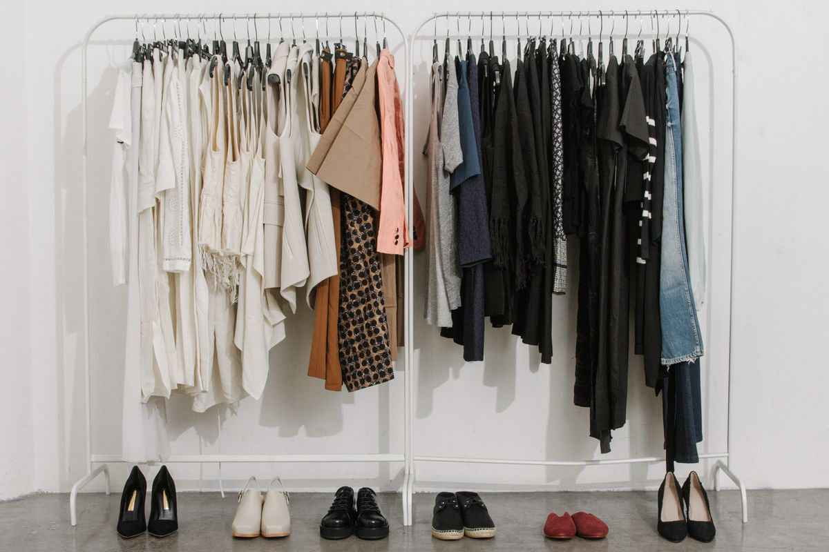 Rack of designer clothing from The Dreslyn's warehouse sale