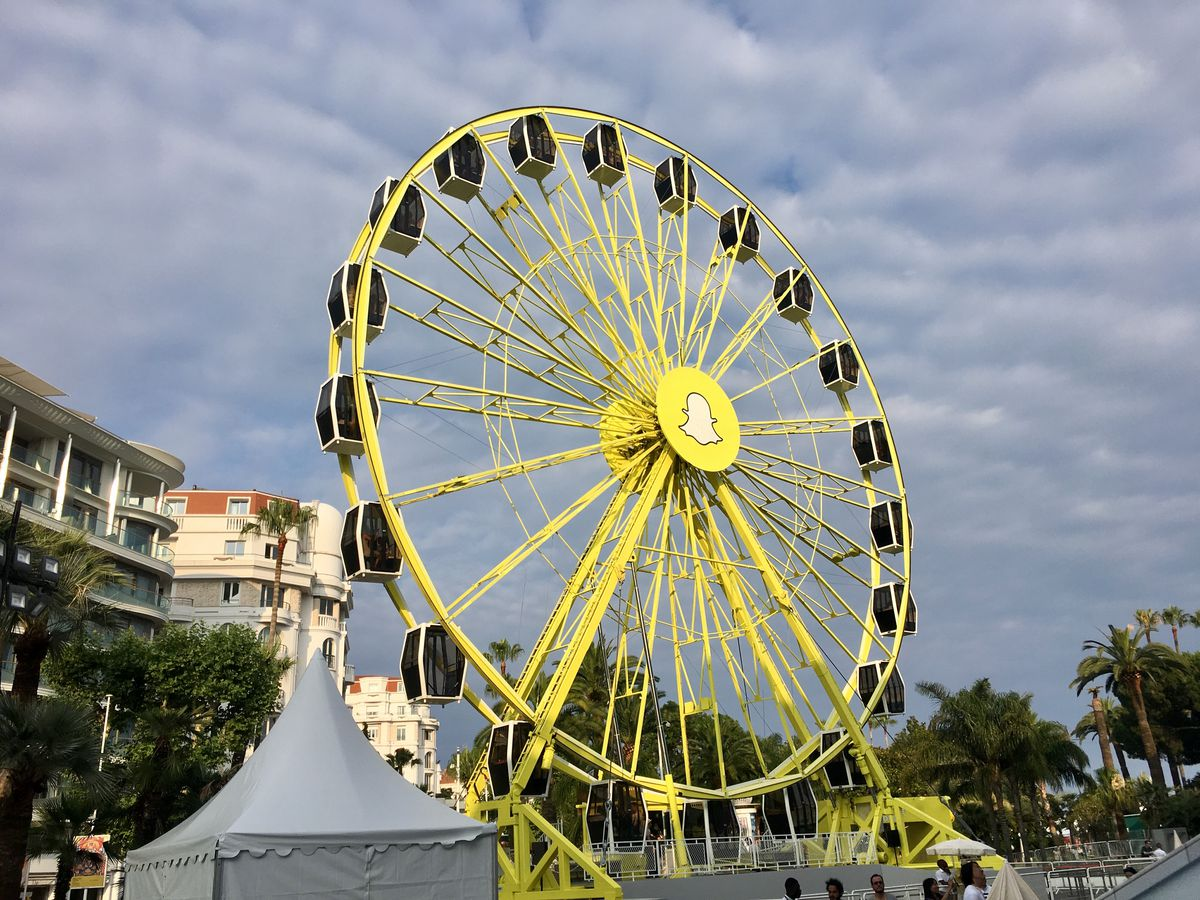 A Snapchat Ferris wheel from Cannes, France.