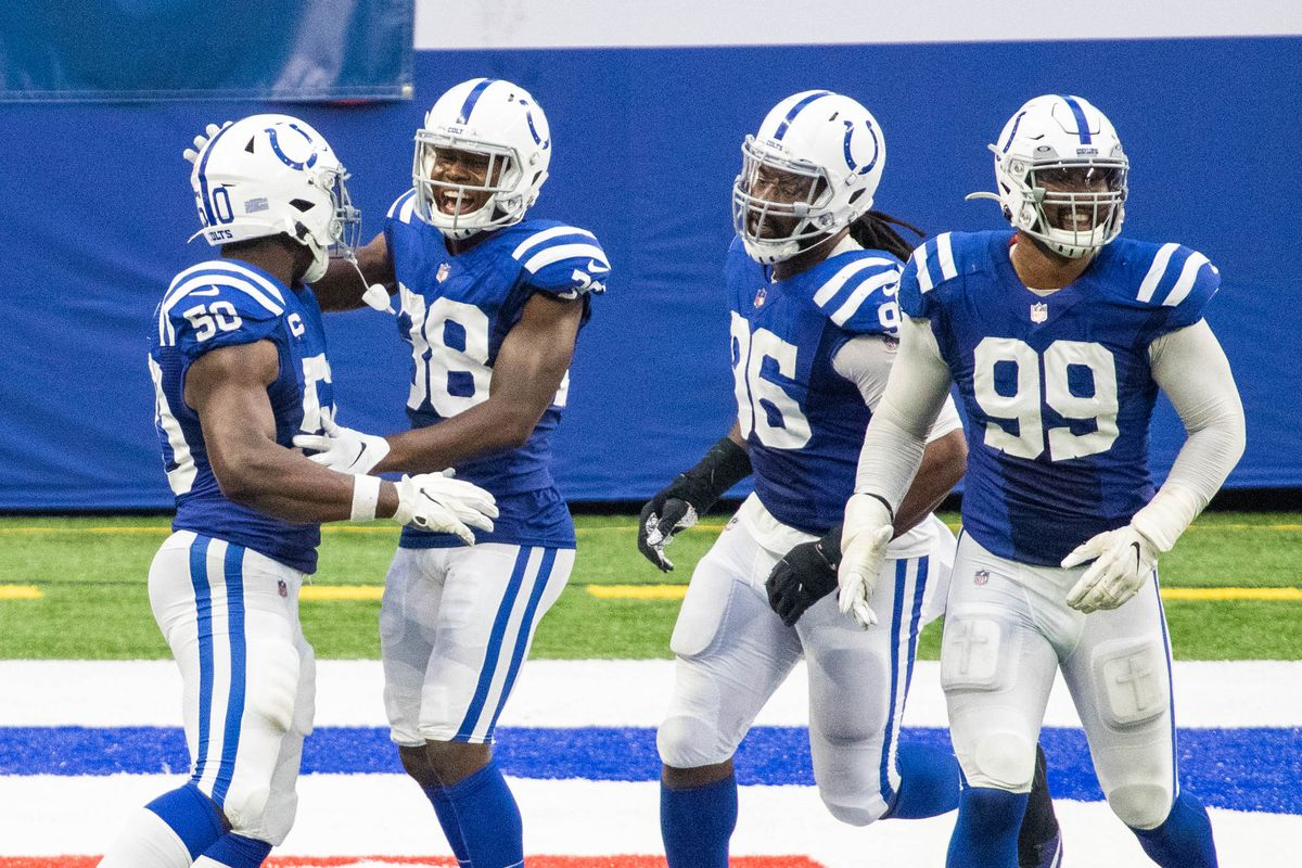 Indianapolis Colts defensive end Justin Houston celebrates his sack for a safety with defensive tackle inside cornerback T.J. Carrie in the second half against the New York Jets at Lucas Oil Stadium.