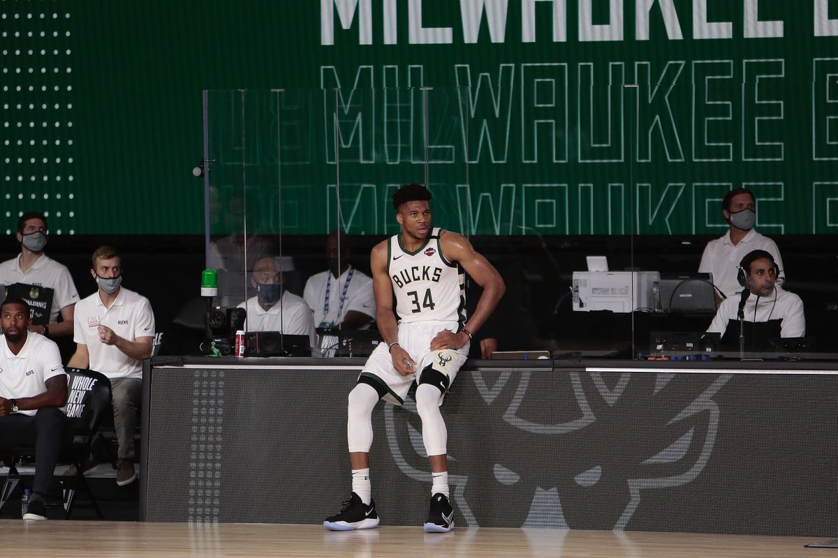 Giannis Antetokounmpo of the Milwaukee Bucks against the New Orleans Pelicans as part of the NBA Restart 2020 on July 27, 2020 at The Arena at ESPN Wide World of Sports Complex in Orlando, Florida.