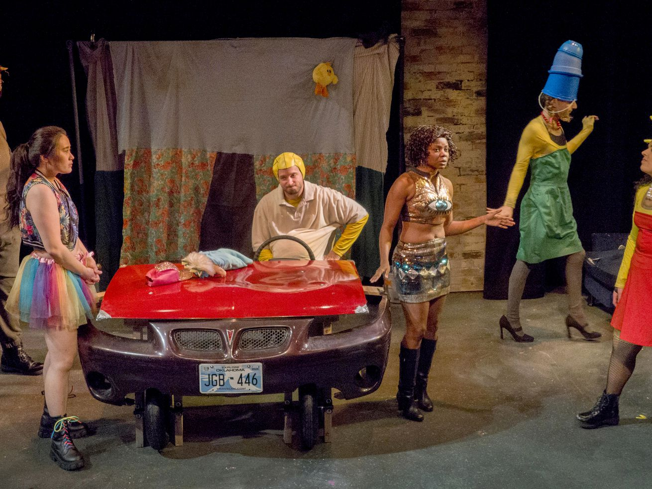 """Jonah D. Winston (from left), Eileen Doan, Daniel Desmarais, Leslie Ann Sheppard, Will Wilhelm and Ana Silva are shown in a scene from Theater Wit's """"Mr. Burns, a post-electric play."""""""