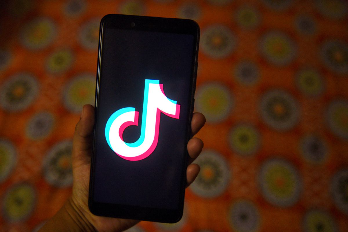The tiktok application sign seen on a screen of an Android...