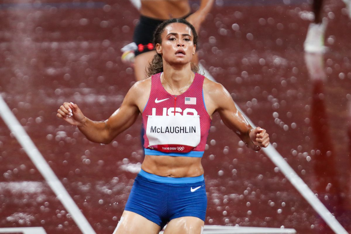 Sydney McLaughlin of the USA wins the semi finals the womens 400m hurdles during the evening session Athletics event on Day 10 of the Tokyo 2020 Olympic Games at the Olympic Stadium on August 02, 2021 Tokyo, Japan.