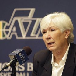 Utah Jazz owner Gail Miller speaks during an news conference introducing Quin Snyder as the new Utah Jazz head coach Saturday, June 7, 2014, in Salt Lake City. The Utah Jazz announced Friday that they have hired Atlanta Hawks assistant coach Snyder to replace Tyrone Corbin, who was let go earlier this year after three-plus seasons in Salt Lake City. Snyder most recently completed his first season as an assistant with Atlanta. He has also been an assistant with the Los Angeles Lakers, the Philadelphia 76ers and the Los Angeles Clippers. (AP Photo/Rick Bowmer)