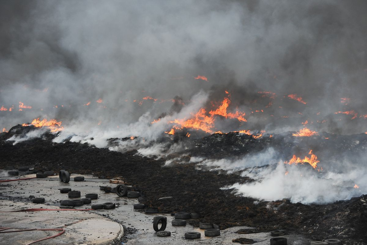 Huge Fire At Recycling Plant In Sherburn-in-Elmet