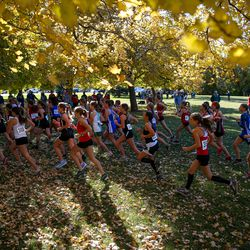 Runners compete in the 3A Girls State Cross-Country Championships at Sugar House Park in Salt Lake City on Wednesday, Oct. 23, 2019.