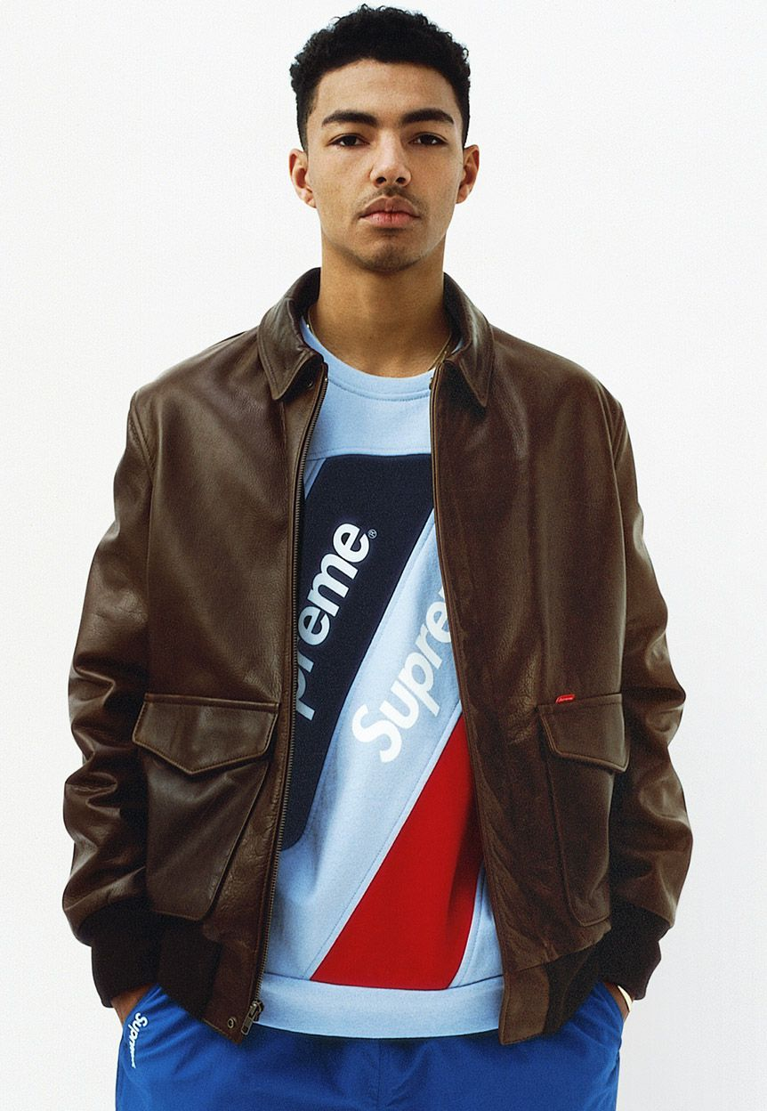 A leather jacket made for Supreme by Schott