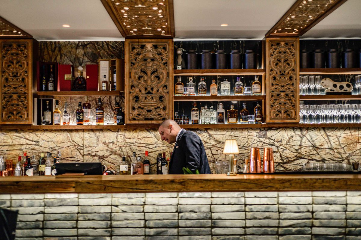 The bar at Din Tai Fung's xiaolongbao dumpling restaurant in London, now open in Covent Garden