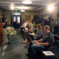 Elder Kent F. Richards speaks during the Ogden Utah Temple open house news media tour in Ogden, Tuesday, July 29, 2014.