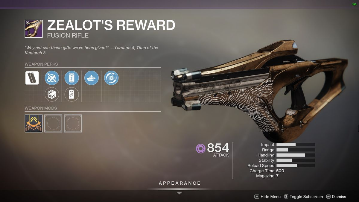 Destiny 2's Zealot's Reward Fusion Rifle