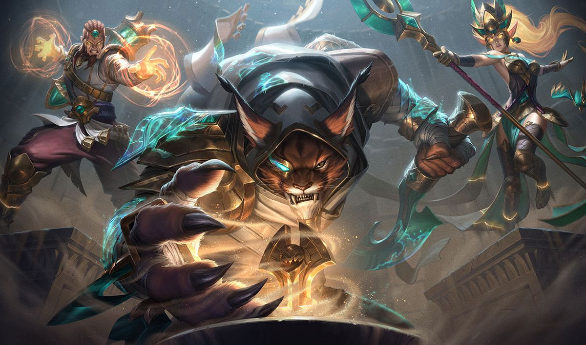 Guardians of the Sands Janna and Ryze try to stop Rengar from grabbing a treasure