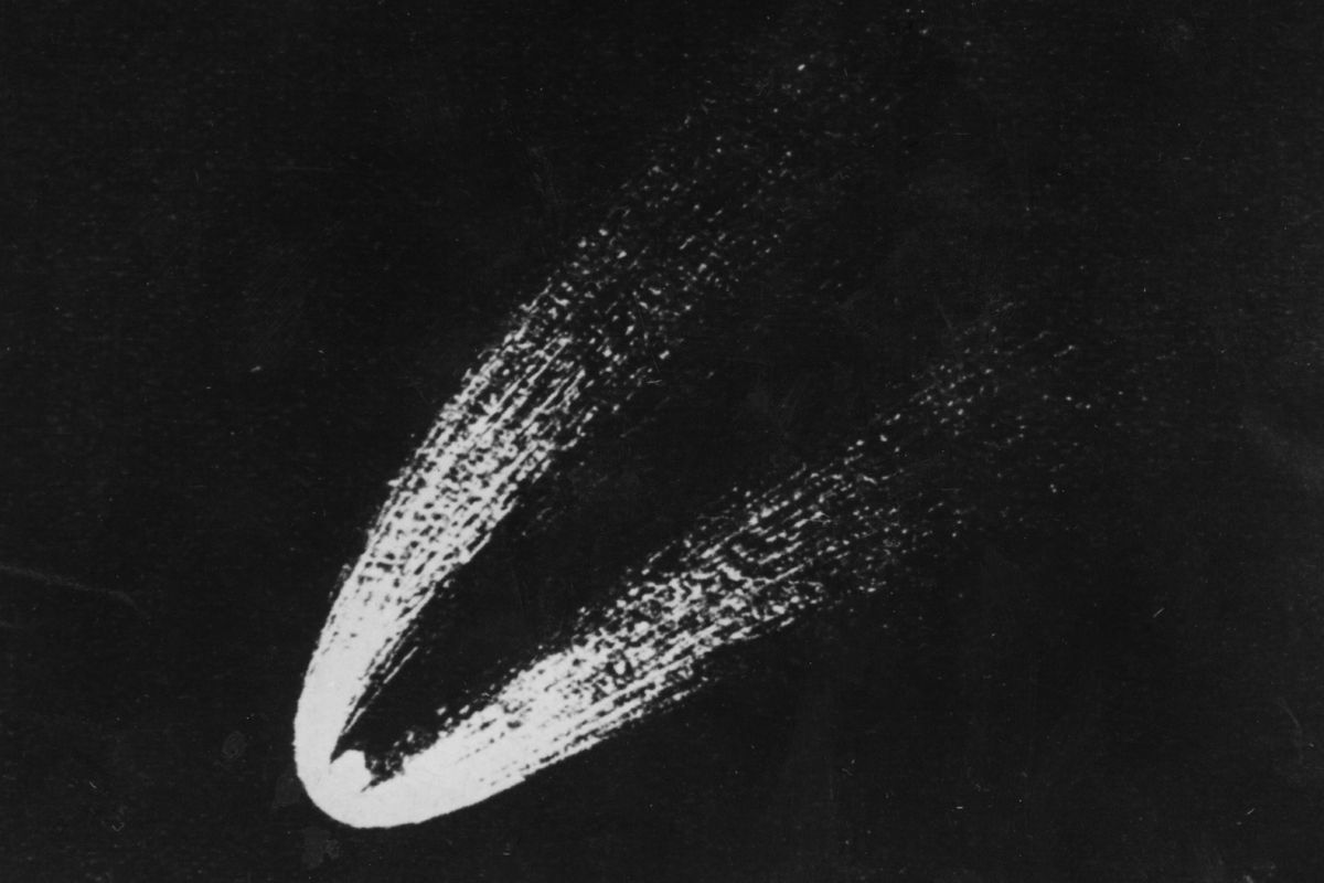 The Eta Aquarids are ice and rock remnants of Halley's Comet (pictured).
