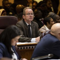 Ald. Tom Tunney (44th) listens during Mayor Lori Lightfoot's first Chicago City Council meeting at City Hall, Wednesday, May 29, 2019.
