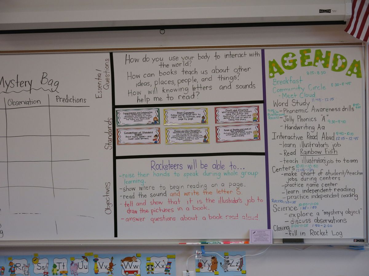 A white board in a Rocketship classroom shows the schedule for a busy day.