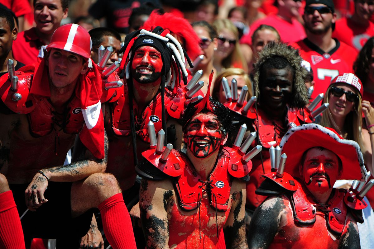 When your group of fans includes some guy with a floppy pimp sombrero and a painted-on Mexican mustache, WHILE wearing pads with spikes, you're ready for the Vanderbilt game.