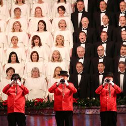 Trumpeters perform during the Mormon Tabernacle Choir Christmas concert in Salt Lake City on Thursday, Dec. 14, 2017.