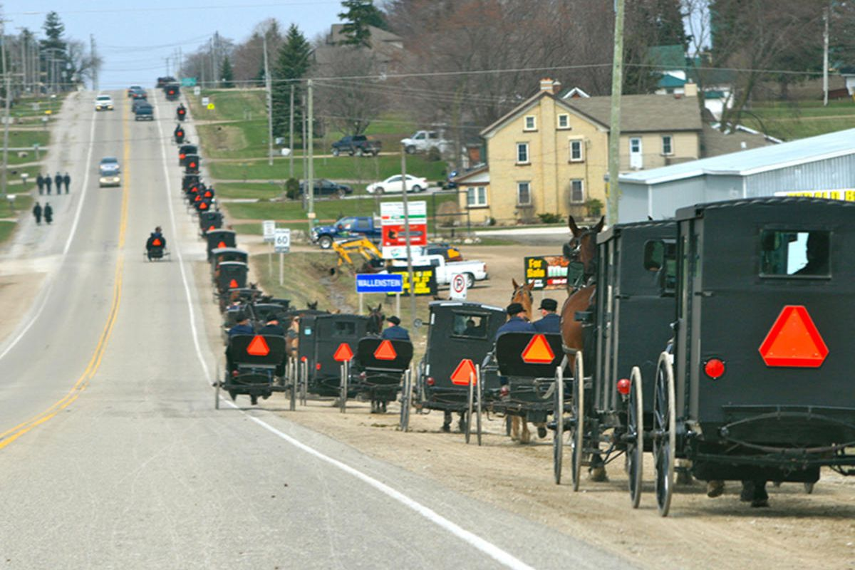 Buggies head toward home after a Mennonite service.