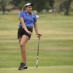 Annabelle Millard, Dixie, just misses a putt during the Utah Section PGA Spring Individual Championship in Rose Park Golf Course in Rose Park on Thursday, June 4, 2020.