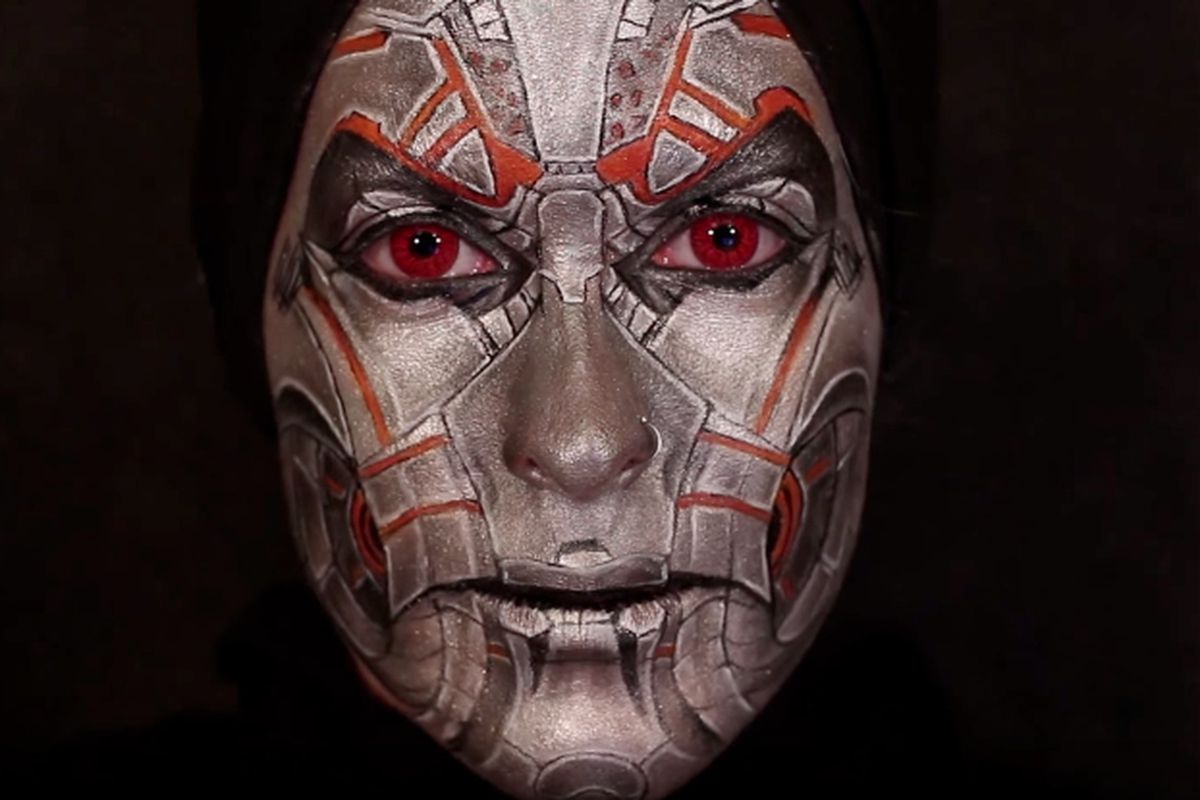 Still from an Age of Ultron YouTube makeup tutorial.