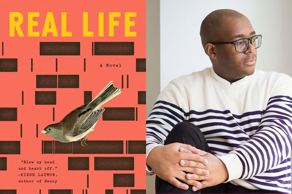 """The cover of the book """"Real Life"""" by Brandon Taylor side by side with a photo of the author."""