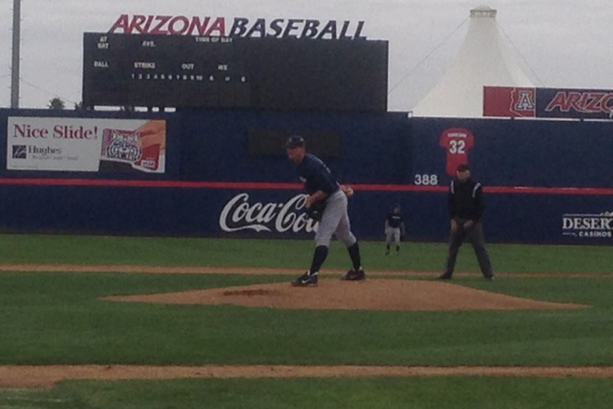 James Farris pitching in the intrasquad scrimmage