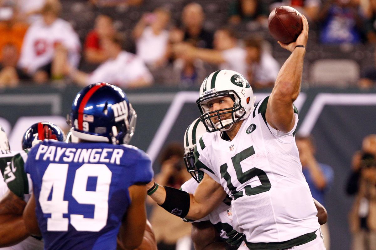 Aug. 18, 2011; East Rutherford, NJ, USA; New York Jets quarterback Tim Tebow (15) throws the ball against the New York Giants during the second half at MetLife Stadium. Giants won 26-3. Debby Wong-US PRESSWIRE