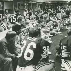 BYU head football coach LaVell Edwards speaks to players during halftime of the Holiday Bowl on Dec. 30, 1978.