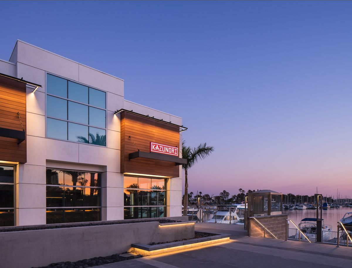 The exterior of Kazu Nori restaurant in Marina Del Rey, California.