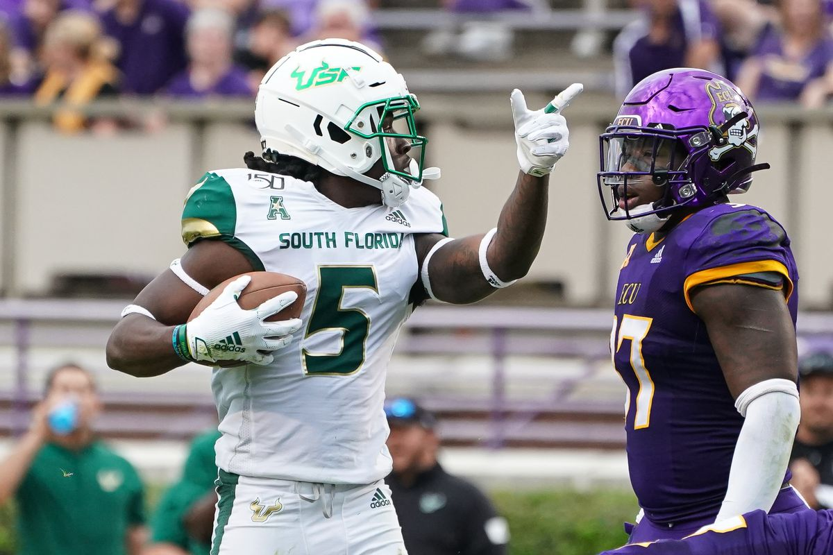 South Florida Bulls wide receiver Randall St. Felix catches a pass for a first down during a game between the USF Bulls and the East Carolina Pirates at Dowdy-Ficklen Stadium in Greenville, NC on October 26, 2019.