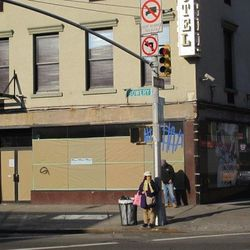 """146 Bowery, maybe becoming a two-floor bar/restaurant by Peter Poulakakos. [Photo: <a href=""""http://www.boweryboogie.com/2013/02/peter-poulakakos-takes-the-fight-to-sla-for-146-bowery/"""">Bowery Boogie</a>]"""