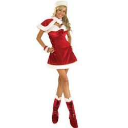 """Mrs. Claus is one of the rare """"sexy"""" costumes that includes layers. We found this on <a href="""":http://www.amazon.com/Clause-Costume-Christmas-Holiday-Outfit/dp/B001MXA39M"""" rel=""""nofollow"""">Amazon</a>. Add tights for extra warmth."""