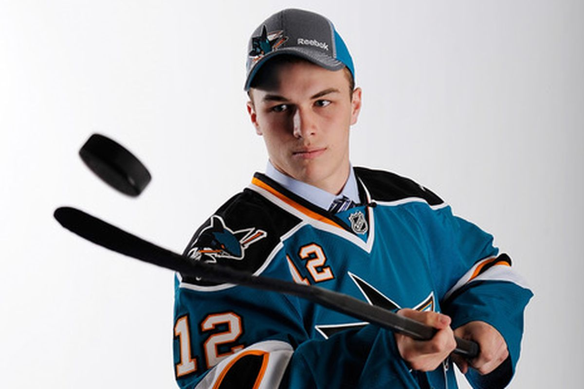 Boston University forward Danny O'Regan, a San Jose Sharks draft pick, poses for a picture after the 2012 NHL Draft.
