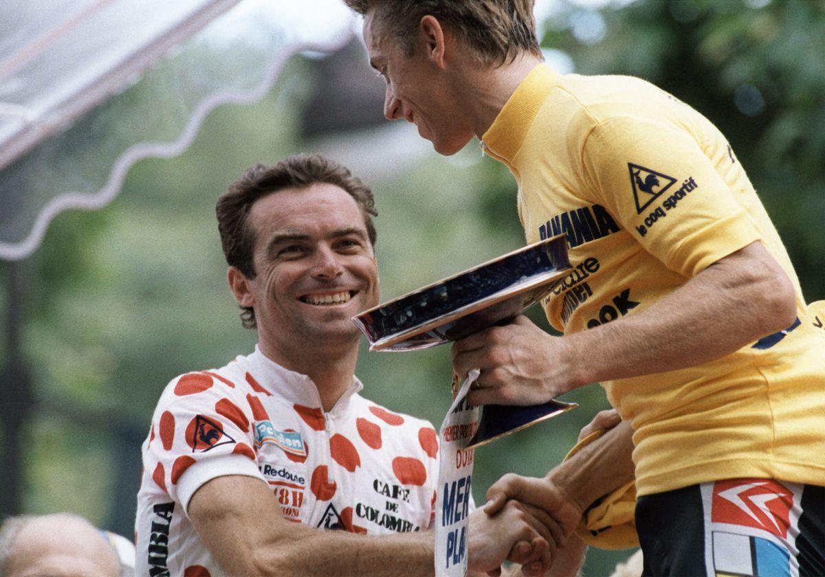 LeMond and Hinault on the podium