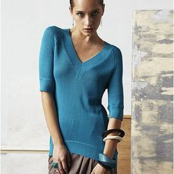 V Neck Asymmetrical Hem Tunic Sweater, $65.00