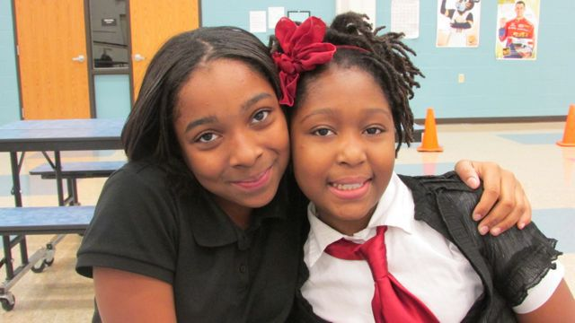 Fifth graders and best pals Arielle Wallace and Sanaah Diaby say they always liked attending Key but know they are learning more now than in the past. (Scott Elliott)