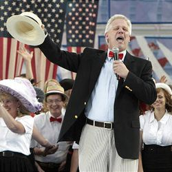 Radio talk show host Glenn Beck emcees the 2009 Stadium of Fire at LaVell Edwards Stadium in Provo Saturday.