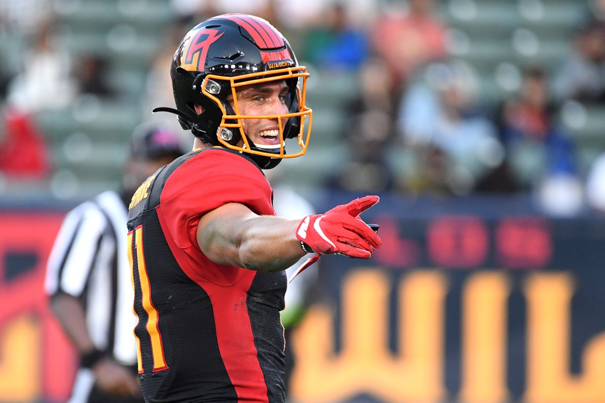 Wide receiver Nelson Spruce of the LA Wildcats laughs on the field during the XFL game against the DC Defenders at Dignity Health Sports Park on February 23, 2020 in Carson, California.