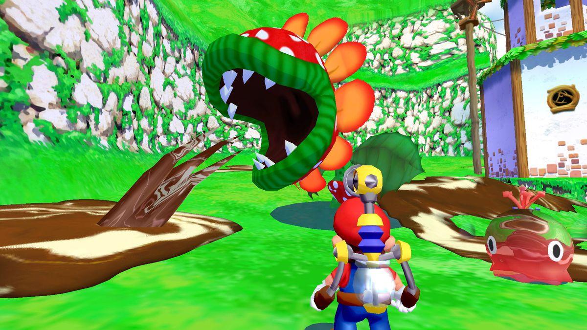 Mario faces Petey Piranha in a screenshot from Super Mario Sunshine on Nintendo Switch