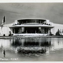 """The Pavilion from Across the Lagoon via <a href=""""http://www.ebay.com/itm/1939-New-York-Worlds-Fair-RPPC-French-Pavilion-/200474898327#ht_1137wt_893"""">eBay</a>."""