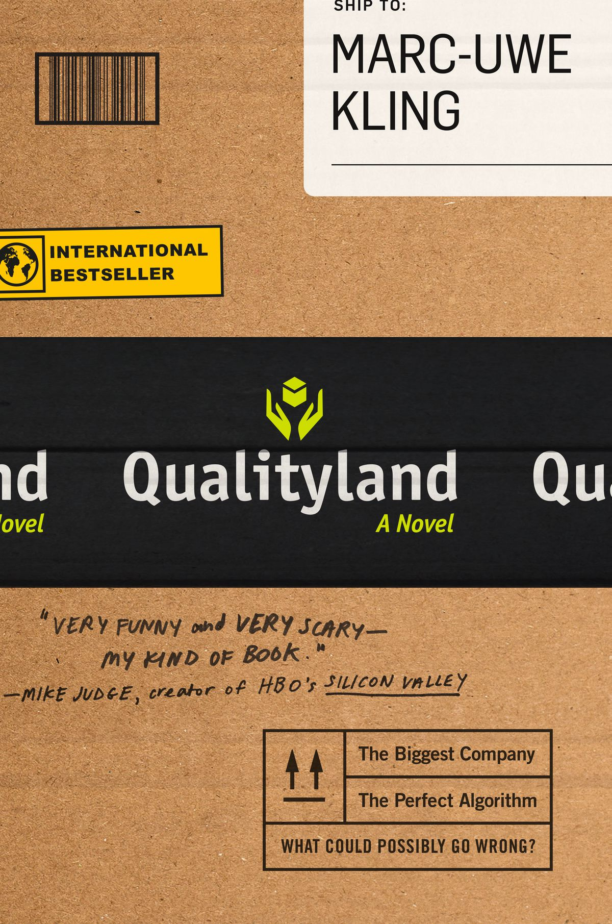 qualityland book cover looks like an amazon package